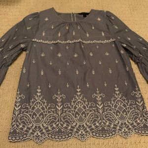 J crew embroidered blouse. Bell sleeve
